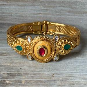 Vintage gold tone jeweled India bracelet